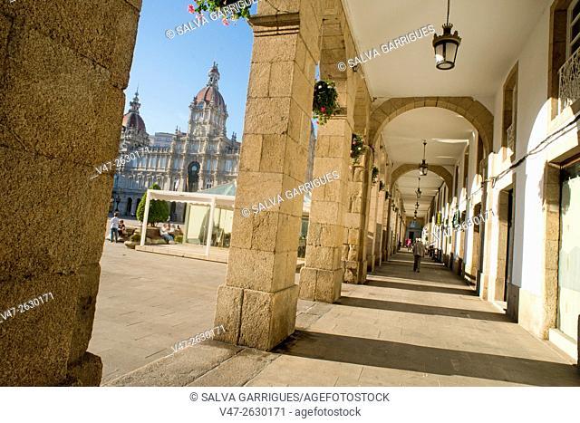 Portico of the Plaza de María Pita, A Coruña, Galicia, Spain, Europe