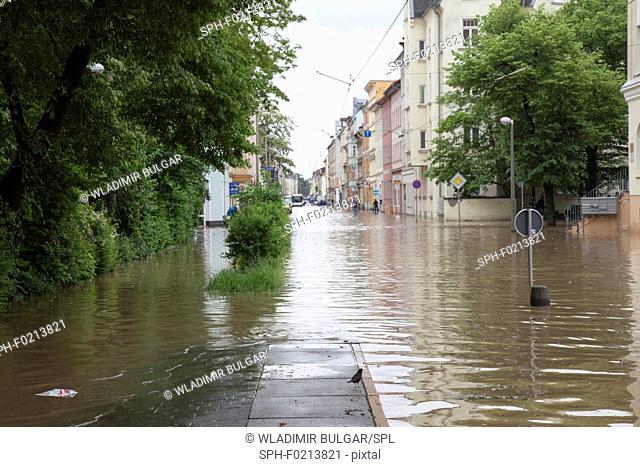 Flooded street, Gera, Germany, 2016