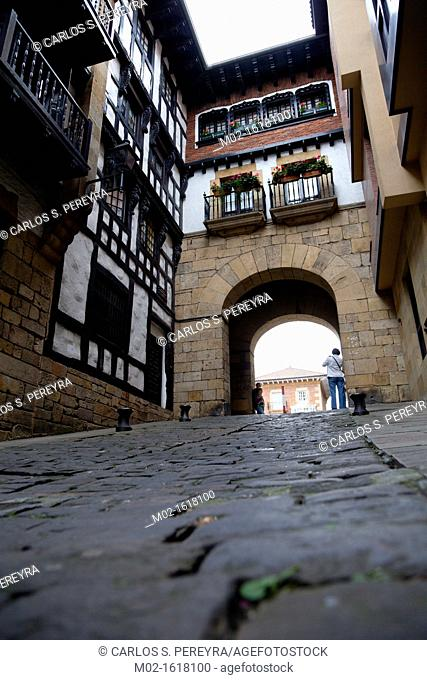 The downtown of Hondarribia, Guipuzcoa, Basque Country, Spain