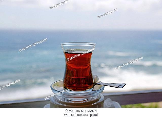 Turkey, Antalya Province, Turkish Riviera, Glass of Turkish tea