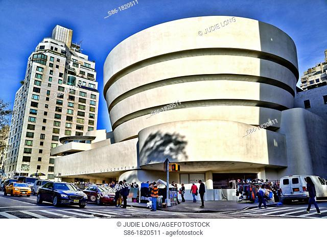 Outside the Guggenheim Museum on a Sunday Afternoon
