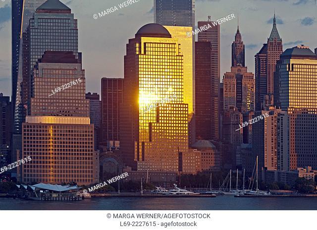 Detail of Manhattan Skyline with World Financial Center, 4 World Trade Center, Lower Manhattan, New York City, USA