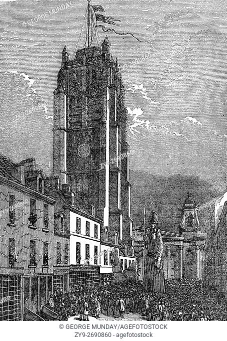 The Clock Tower in Dunkirk and Procession of Giants in 1676, a chance for fishermen to let off steam before braving the sea