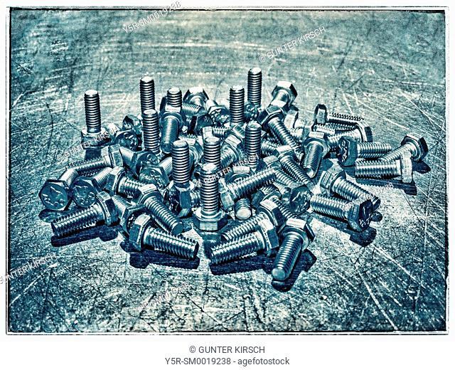 Many hex cap screws