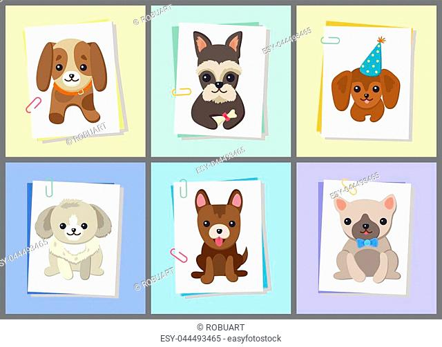Puppies and dogs poster set, collection of pets pictures, creatures of different breeds and colors, in cap and bows, isolated on vector illustration