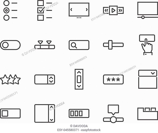Simple Set of UI Elements Related Vector Line Icons. Contains such Icons as Dropdown, Check Boxes, Tabs and more. Editable Stroke. 48x48 Pixel Perfect