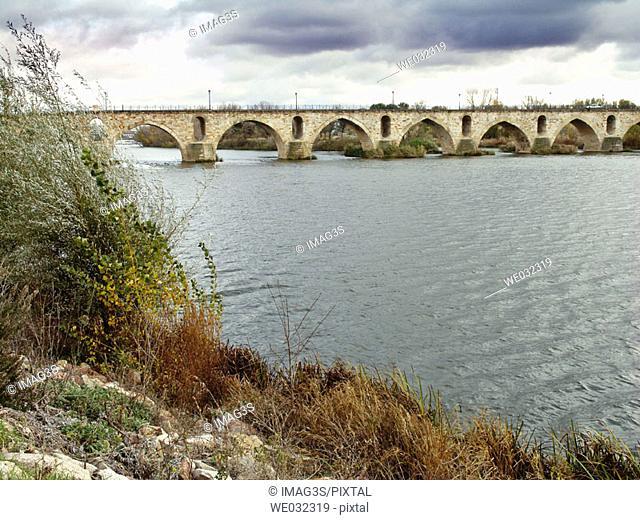 Puente de Piedra over Douro river, Zamora, Spain