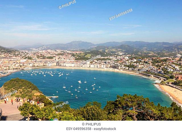 View over La Concha bay and the city of San Sebastian. Basque country, Spain