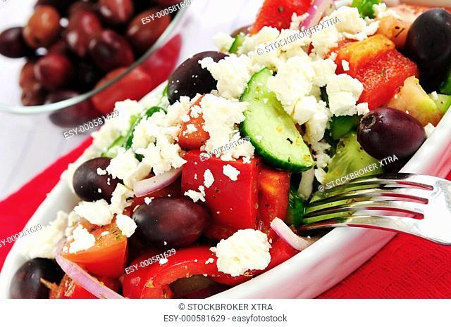 Greek salad with feta cheese and black kalamata olives