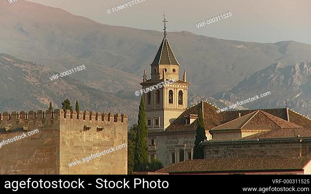 Alhambra Palace, Granada, Andulsia, Spain : zoom back from close up evening shot of the Royal Complex (Plaza de Nazaríes)