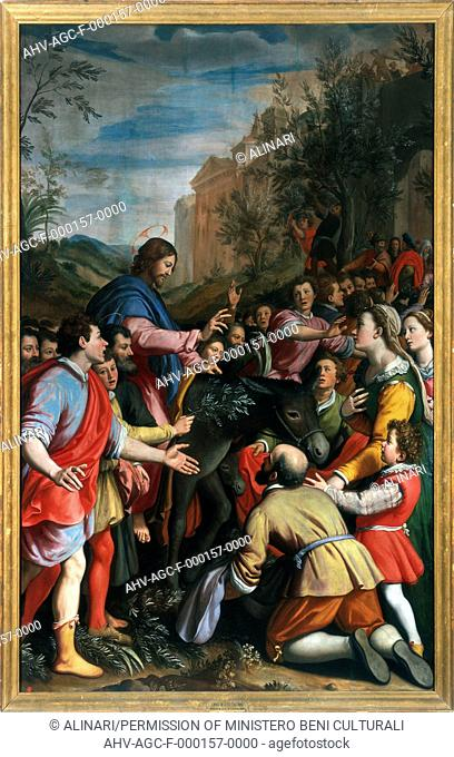 Entry of Christ into Jerusalem', painting by Santi di Tito in The Accademy Gallery in Florence (XVI century), shot 1990 by Lorusso, Nicola for Alinari