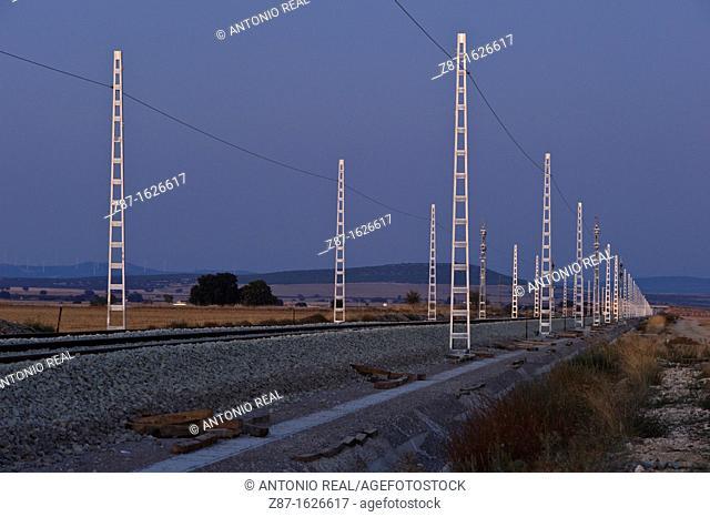 Railway, Bonete, Albacete province, Castilla-La Mancha, Spain