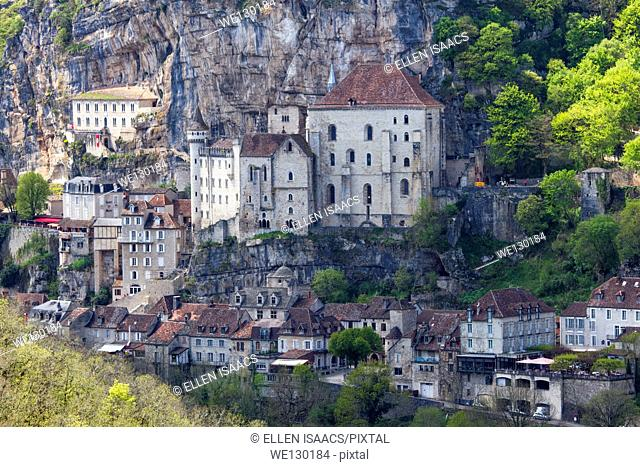 Churches built into the cliff at Rocamadour in Midi-Pyrenees region of France