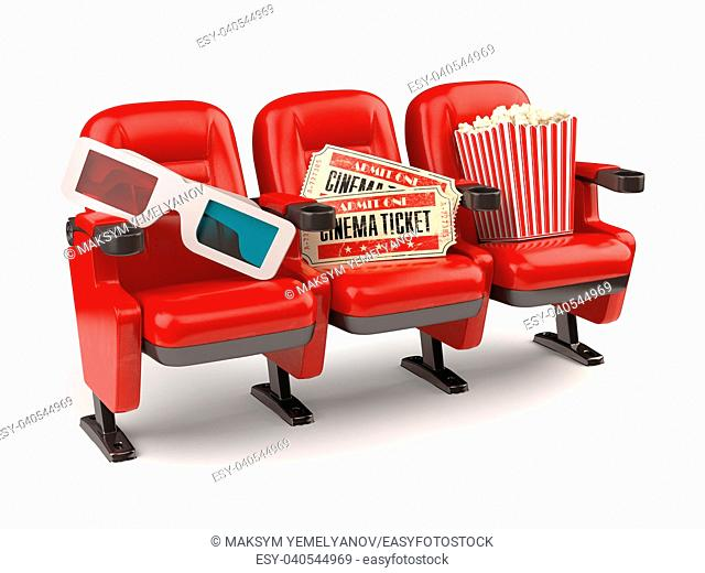 Cinema movie concept. Red seats with tickets, popcorn and 3d glasses isolated on white