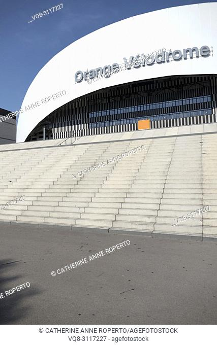 Impressive curved and geometric contemporary frontage of the Orange Velodrome Marseille Football Stadium, Marseille, Provence, France