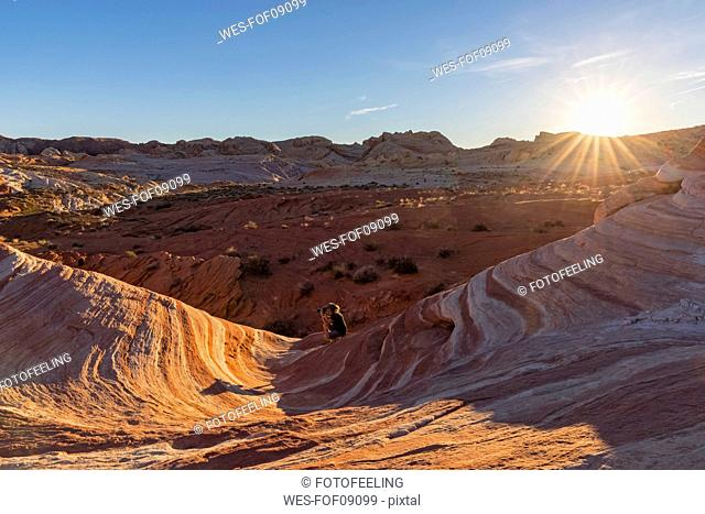 USA, Nevada, Valley of Fire State Park, woman taking pictures of colored sandstone and limestone rocks of the Fire Wave