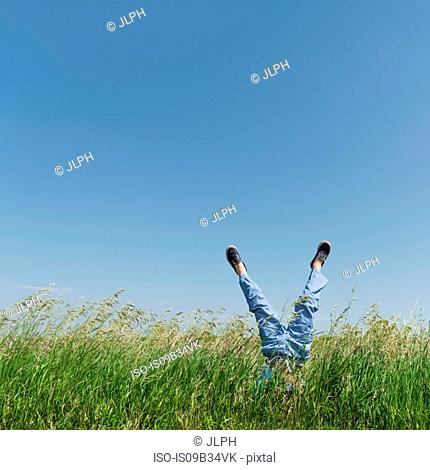 Boy doing handstand in tall grass