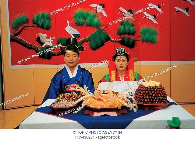 Newly-Married Couple in Korean Wedding Costume,Korea