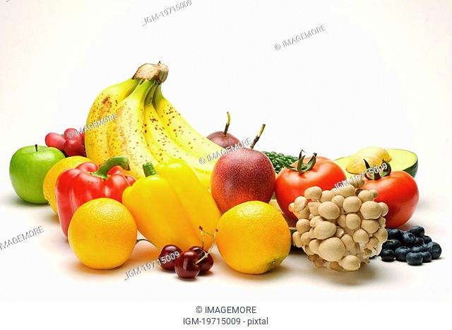 Selection of fruit and vegetable, close up