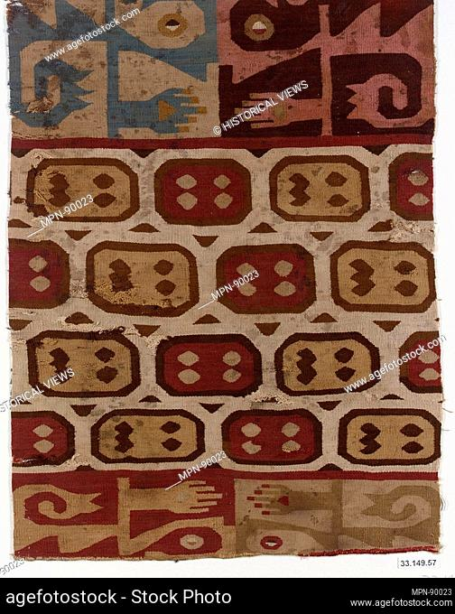 Tunic Fragment. Date: 7th-9th century; Geography: Peru; Culture: Wari; Medium: Camelid hair, cotton; Dimensions: Overall: 13 3/4 x 10 1/8 in. (34