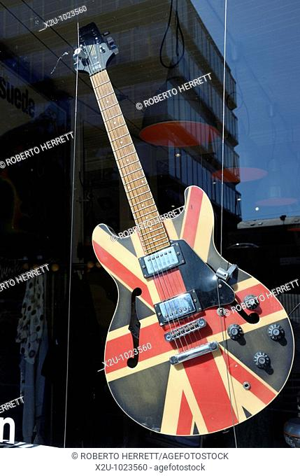 Union Jack on electric guitar in shop window
