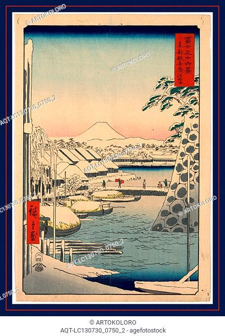 Toto sukiyabashi, Sukiya Bridge in the eastern capital., Ando, Hiroshige, 1797-1858, artist, 1858., 1 print : woodcut, color ; 35.9 x 24.2 cm