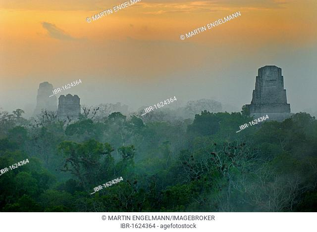 Mayan Temples of Tikal, pyramid, calendar, 2012, rainforest, sunrise, Peten, Guatemala, Central America