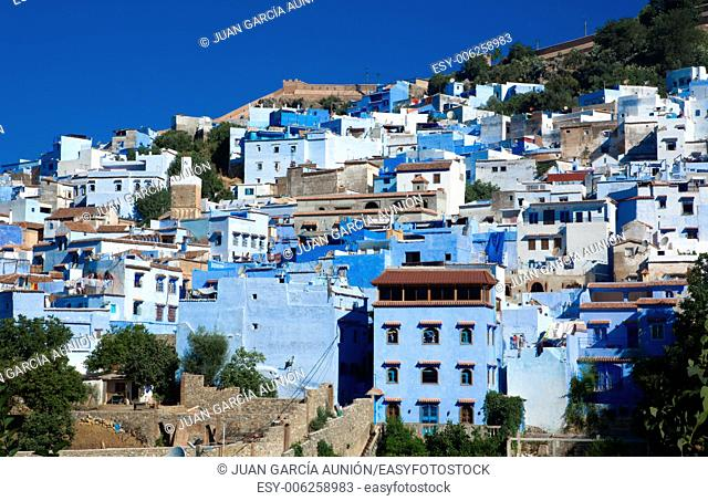 Panoramic view of blue city of Chefchaouen at rising, Morocco