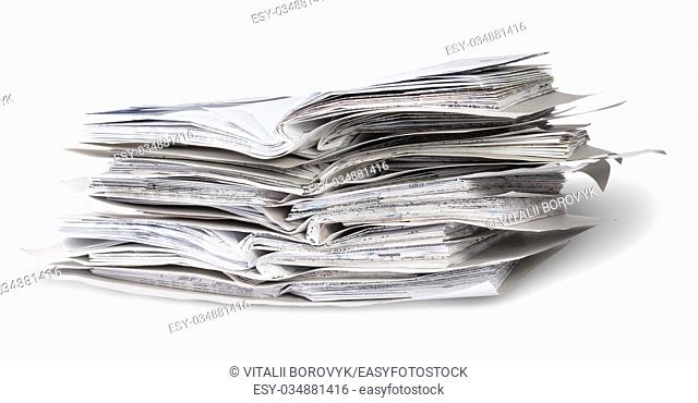 Stack Of Open Files Rotated Isolated On White Background