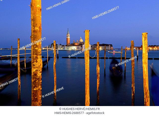 Italy, Venetia, Venice, listed as World Heritage by UNESCO, Quay at St Mark's Square with gondolas and the view to San Giorgio Maggiore Island