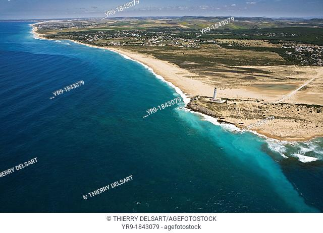 Trafalgar's lighthouse, Zahora beach, Caños de Meca, El Palmar and Conil de la Frontera in the back  aerial view Cádiz area Spain