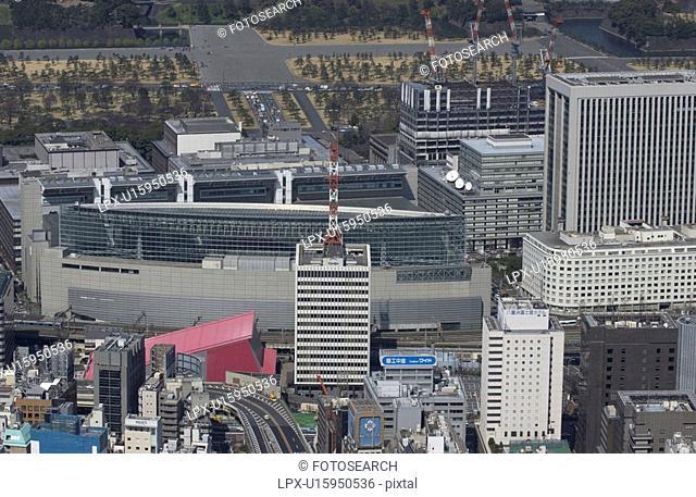 Tokyo International Forum, Aerial View, Pan Focus