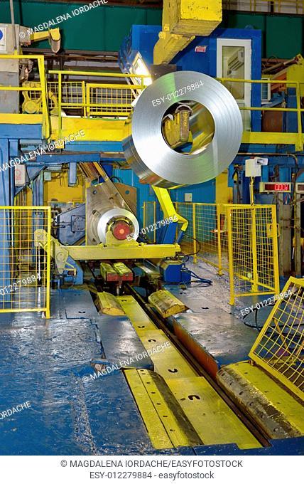 crane loading Coil steel in Steel plant, roll of steel sheet