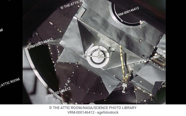 The moment of docking with between the Command Module Gumdrop and the Lunar Module Spider. Date recorded: 1969-03-03