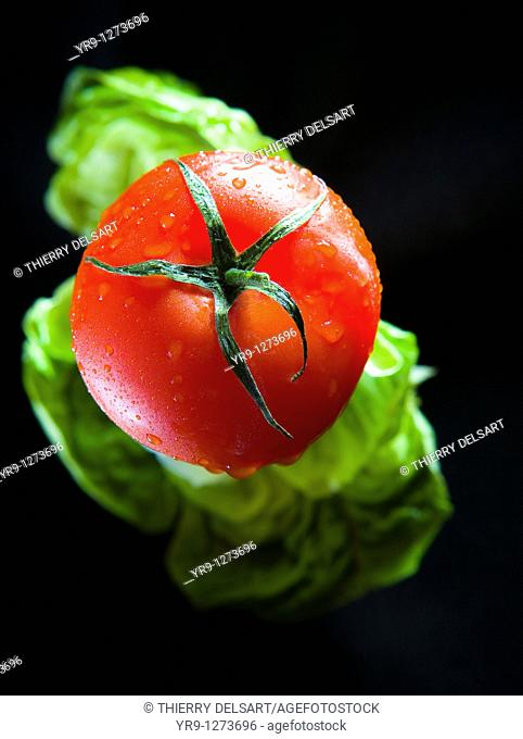 Vine ripened tomato floating in the air with lettuce leaf