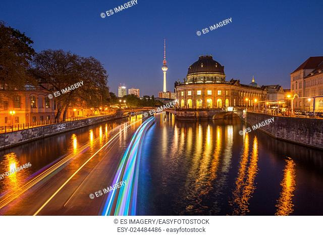 Berlin River Spree and famous round Bode Museum at twilight with TV Tower (Fernsehturm)