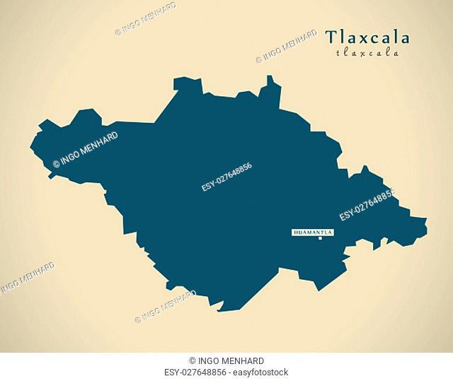 Modern Map - Tlaxcala Mexico MX illustration