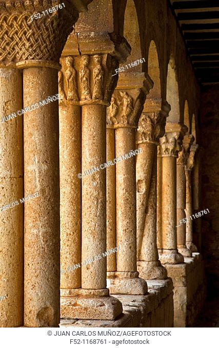 Column with twisted shafts in the gallery of the Romanesque Church of San Pedro (12th century), Caracena, Soria province, Castilla-Leon, Spain
