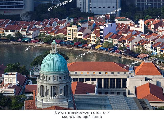 Singapore, elevated view of Boat Quay, morning