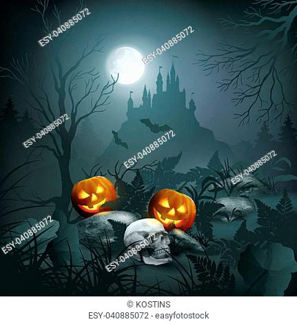 Halloween vector night scene with a skull, pumpkin, graves and castle