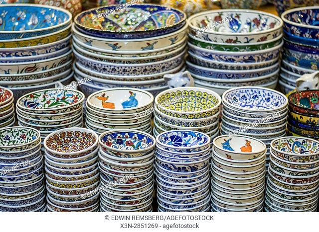 Traditional, handmade dishware is for sale at the Grand Bazaar located in Istanbul, Turkey