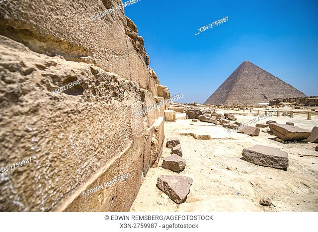 Cairo, Egypt. Close up worm's eye view of the casing stones (limestone) that make up The Great Pyramids of Giza