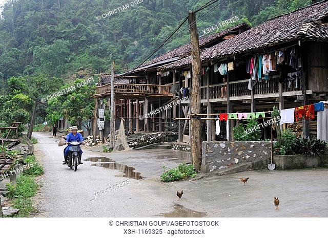 village on the lakeshore,Ba Be Lake,Bac Kan province,Northern Vietnam,southeast asia