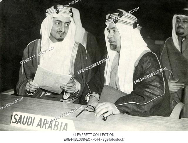 Saudi Arabian delegates to the United Nations session in London, Jan. 17, 1946. At left is Foreign Minister Faisal bin Abdulaziz