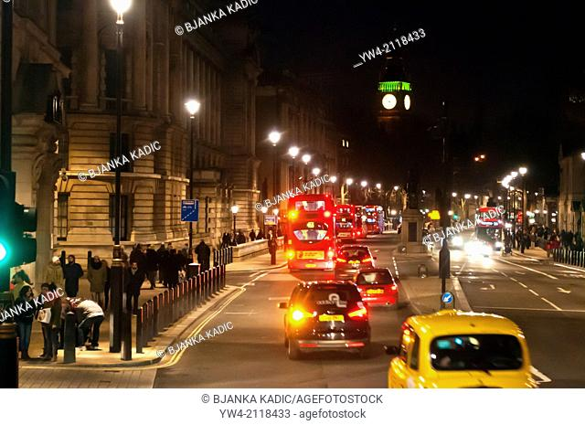 Whitehall at night with Big Ben in distance, London, W1, UK