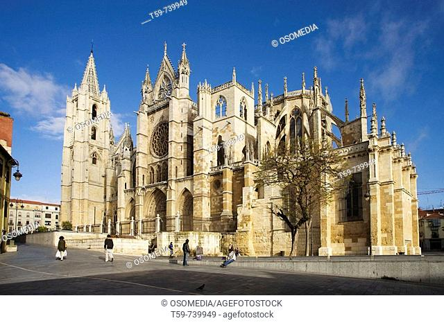 Gothic cathedral, Leon. Castilla-Leon, Spain