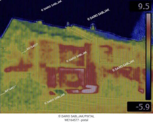 Thermal Image of Leakage at House Facade Basement