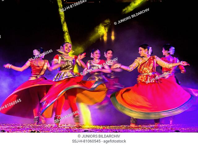 Dancers at Holika Dahan celebration. Udaipur, Rajasthan, India