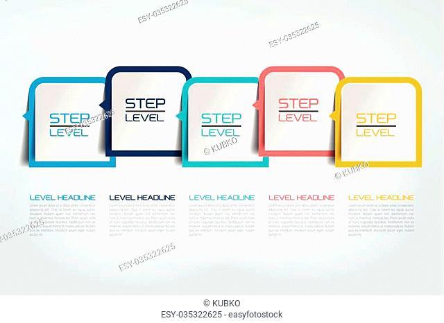 Five steps infographics report, template, chart, scheme. Vector