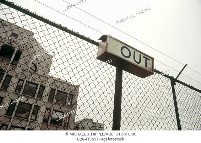Out sign. Parking garage. Seattle. Washington. USA